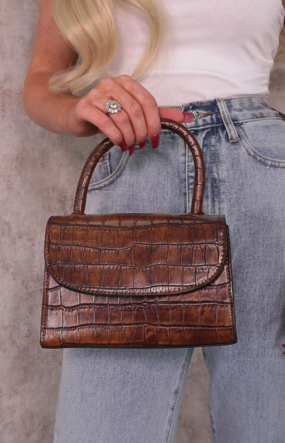 Brown Croc Print Square Grab Bag - Claudia
