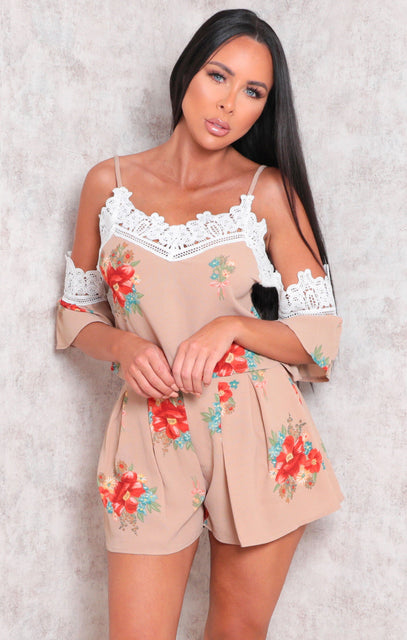 Brown Floral Print High Waisted Floaty Co-ord - Ollie