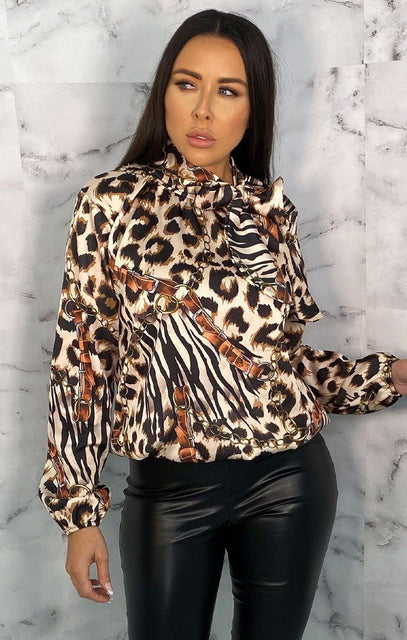 Brown Leopard Print Chain Satin Long Sleeve Shirt - Bella