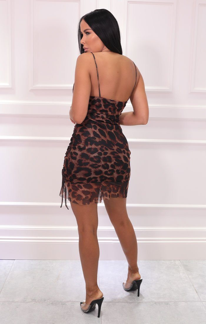 Brown Leopard Print Cowl Neck Ruched Mini Dress - Angelo