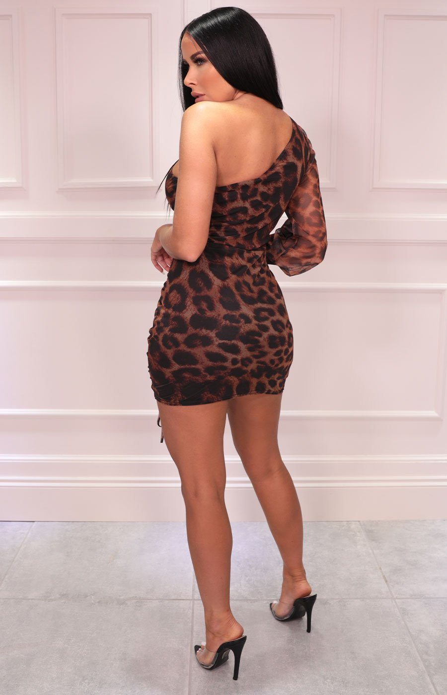 Brown Leopard Print One Shoulder Mesh Ruched Mini Dress - Adeline