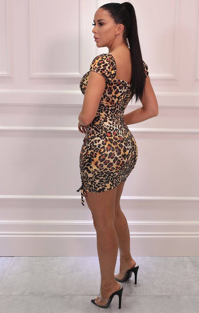 Brown Leopard Print Ruched Bodycon Mini Dress - Felix