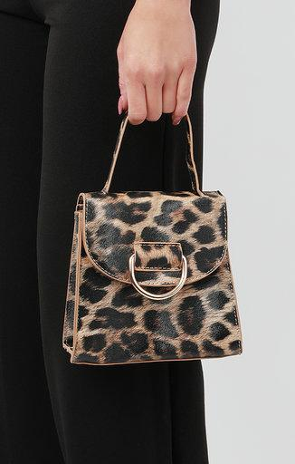 Brown Leopard Print Shoulder Grab Bag - Mercy