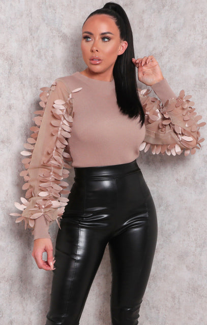 Brown Mesh Leaf Detail Ribbed Fitted Top - Lucy