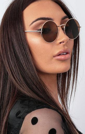 Brown Mirrored Circle Sunglasses - Sonny