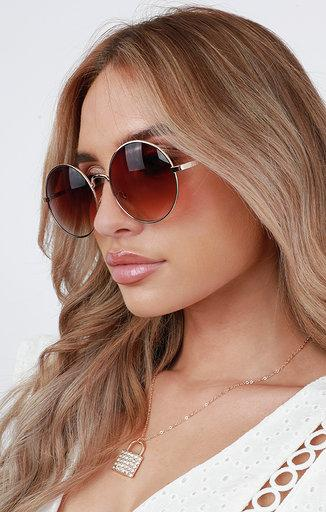 Brown Ombré Round Thin Frame Sunglasses - Juliet