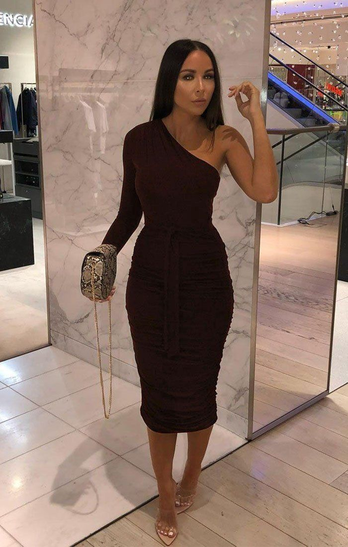 Brown One Shoulder Ruched Slinky Midi Dress - Savannah