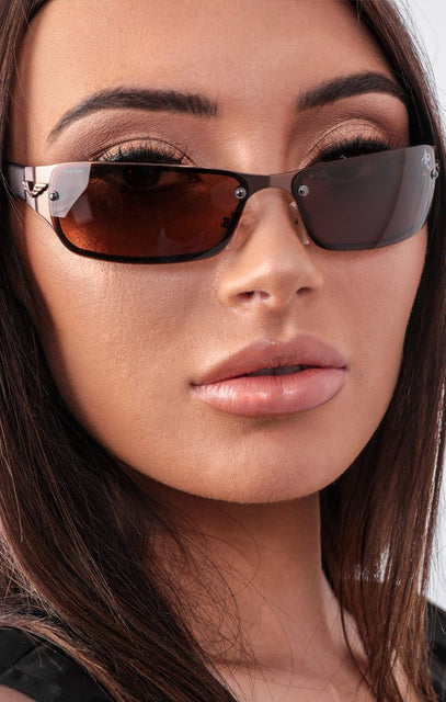 Brown Retro Slim Lens Sunglasses - Selah