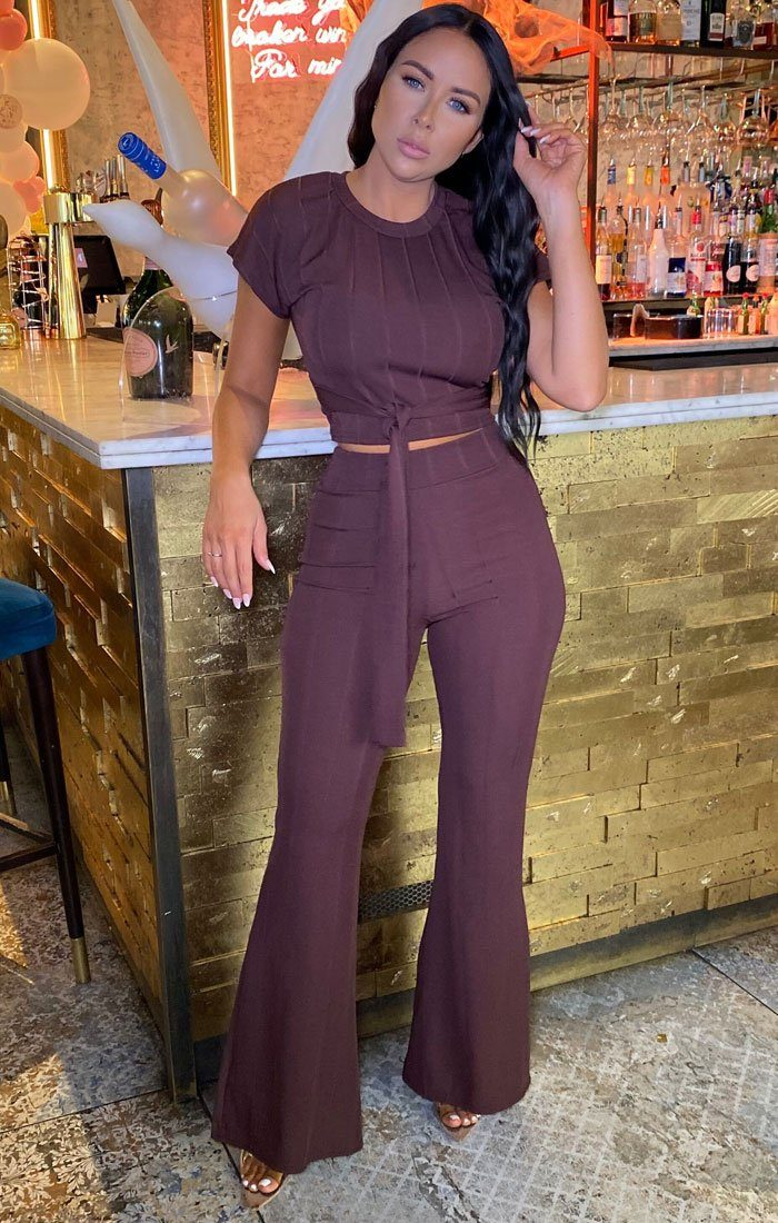 Brown Ribbed Belted Co-Ord - Alannah