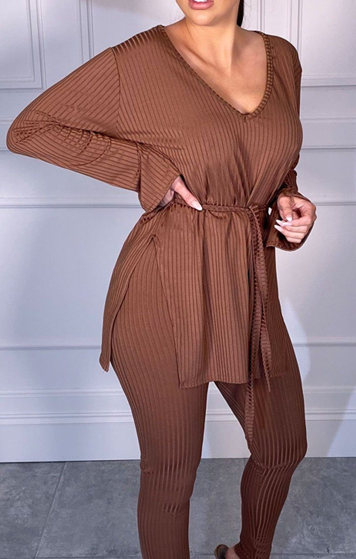 Brown Ribbed Belted Loungewear Set - Asia
