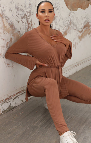 Brown Ribbed Loungewear Sets