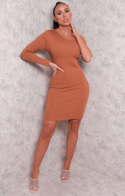 Brown Ribbed One Shoulder Bodycon Mini Dress - Sabrina