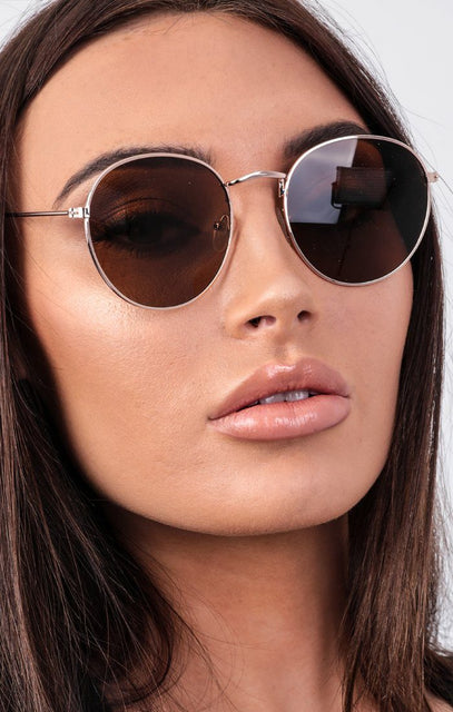 Brown Round Gold Frame Sunglasses - Mabel