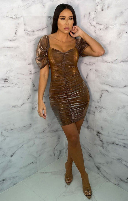 Brown Ruched Mesh Organza Puff Sleeve Bodycon Mini Dress - Maddie