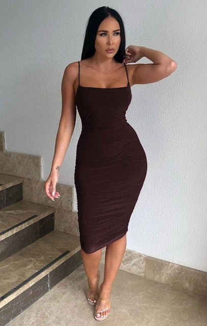 Brown Ruched Midi Bodycon Dress - Taylor