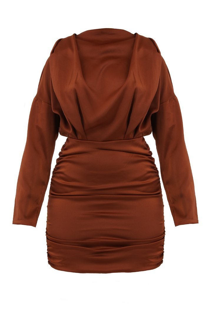 Brown Satin Draped Mini Dress - Tatiana