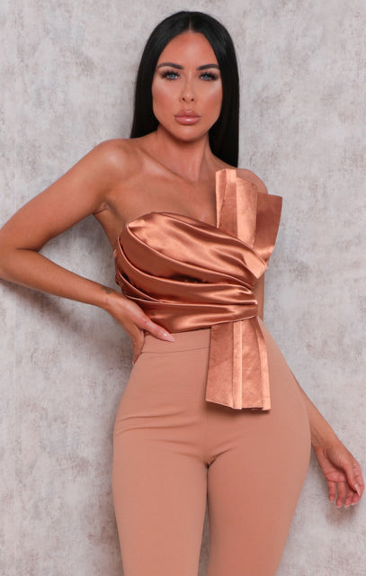 Brown Satin Pleated Strapless Bodysuit - Ashby