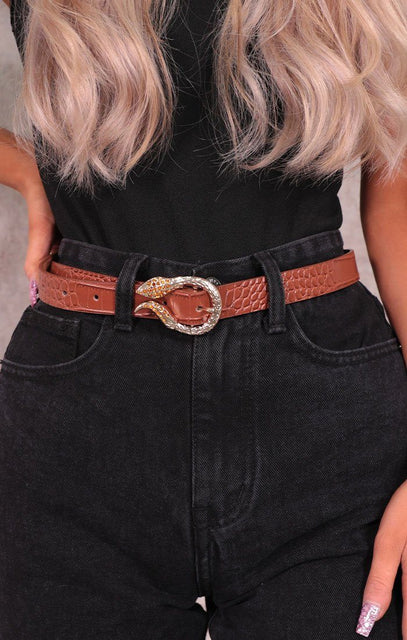 Brown Snake Print Diamante Buckle Faux Leather Belt - Raven