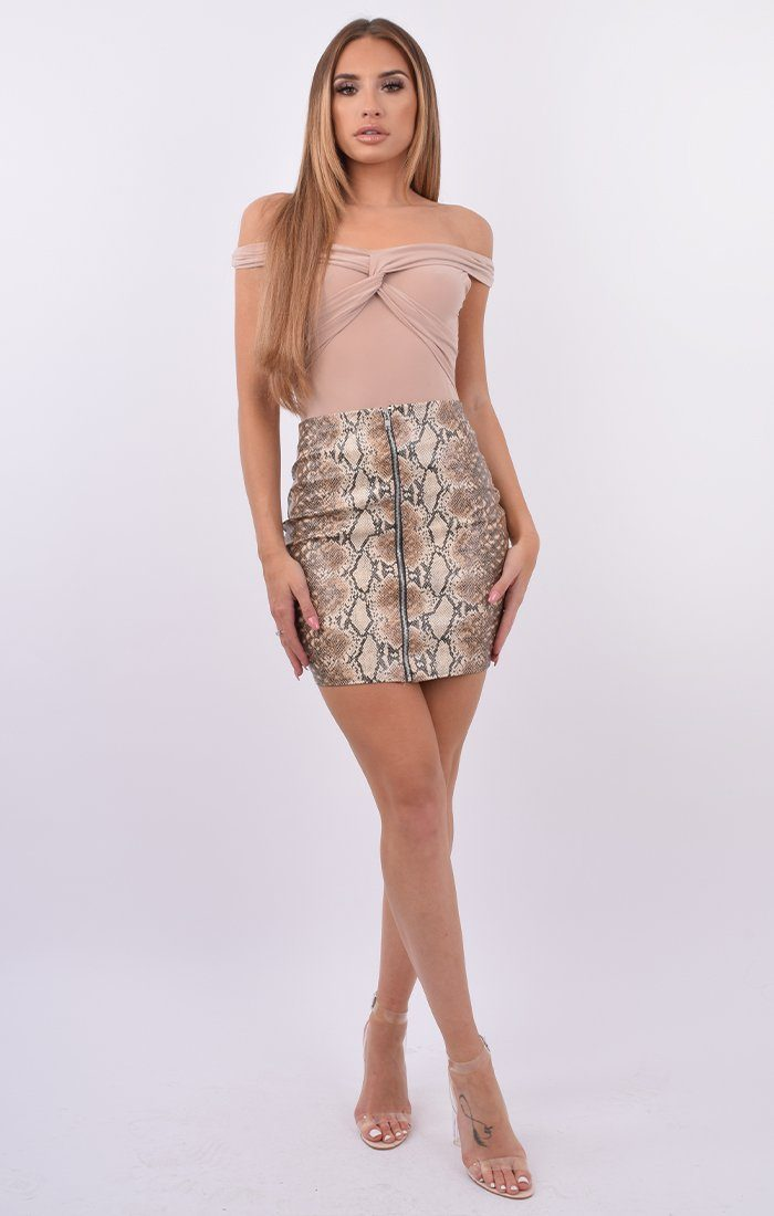 Brown Snake Print PU Zip Skirt - Zaynah