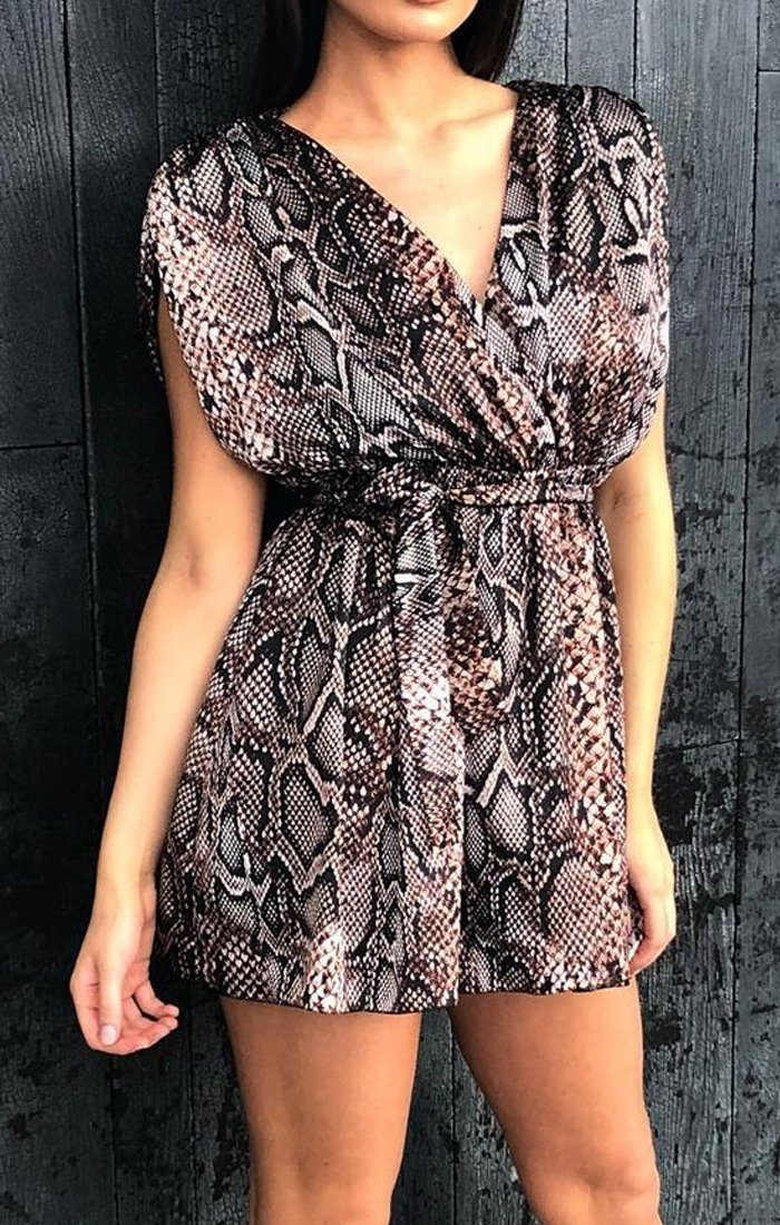 Brown Snake Print Sleeveless Wrap Dress - Serena