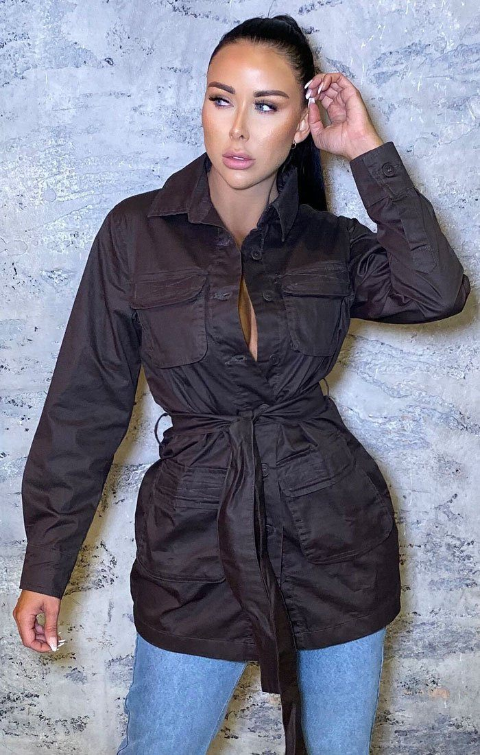 Brown Utility Tie Waist Shirt Mini Jacket Dress - Tilly
