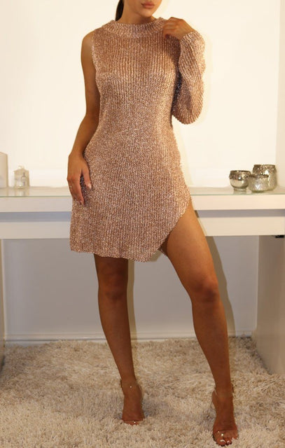 Rose Gold Metallic One Armed Dress
