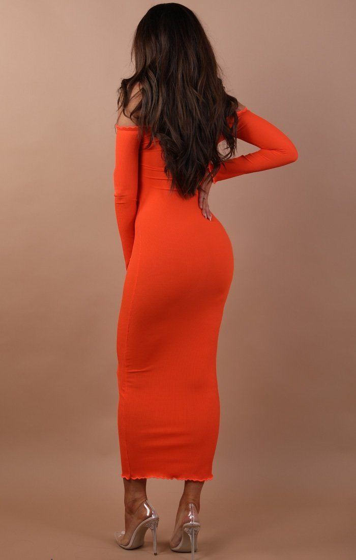 Orange Frill Detail Maxi Dress - Jaycee