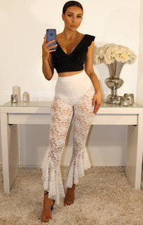 White Lace Asymmetric Frill Hem Trousers
