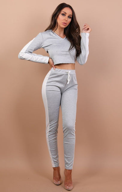 Grey With White Stripe V Neck Loungewear Set – Sasha