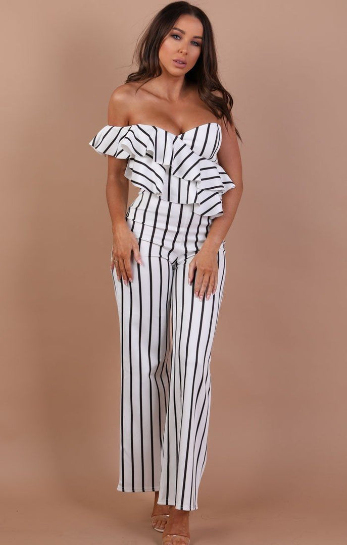 White With Black Stripe One Shoulder Frill Jumpsuit – Becca