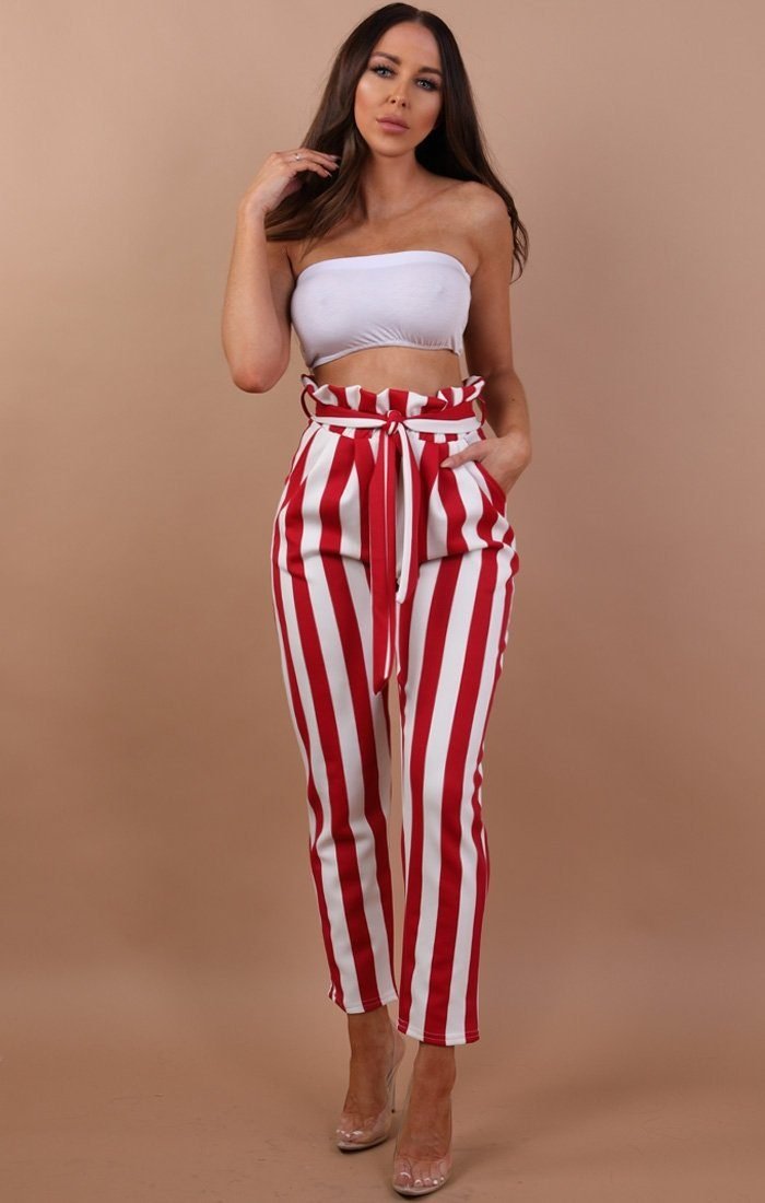 Red And White Paper Bag Trousers - Alina