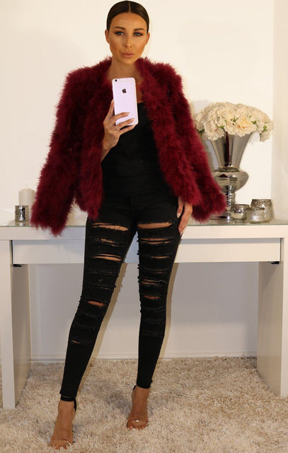 Wine Ostrich Feather Long Sleeve Coat
