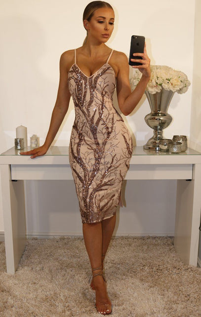 Nude Mesh & Sequin Detail Cami Dress