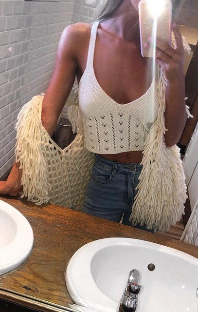 Cream Knitted Cross Over Crop Top - Amy