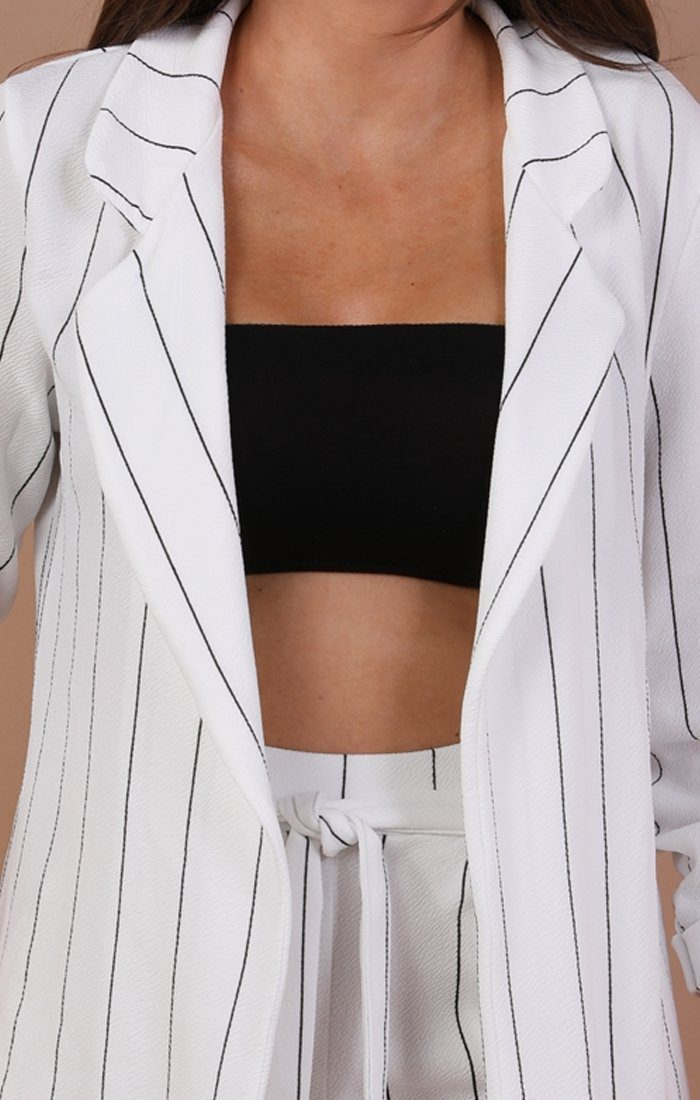 White Blazer With Black Stripes - Dani