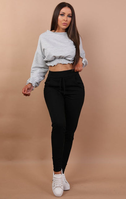 Grey Cropped Frill Jumper - Natasha