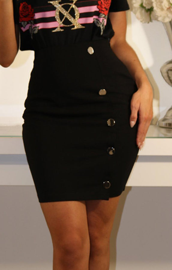 BLACK BODYCON MINI SKIRT WITH SIDE BUTTONS