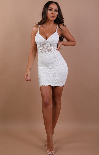 White Lace Bodycon Mini Dress - Ashlynn