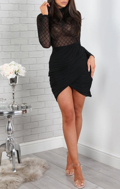 Black Mesh Long Sleeve Mini Dress