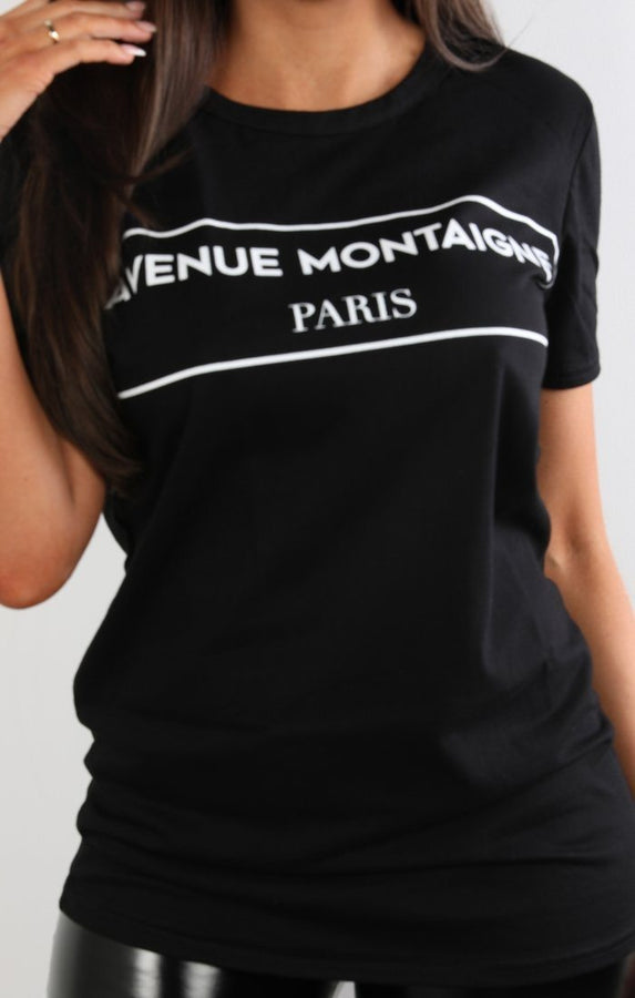 Black-Avenue-Montaigne-Slogan-T-Shirt