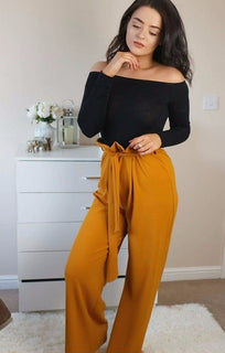MUSTARD PAPER BAG TIE WAIST WIDE LEG TROUSERS