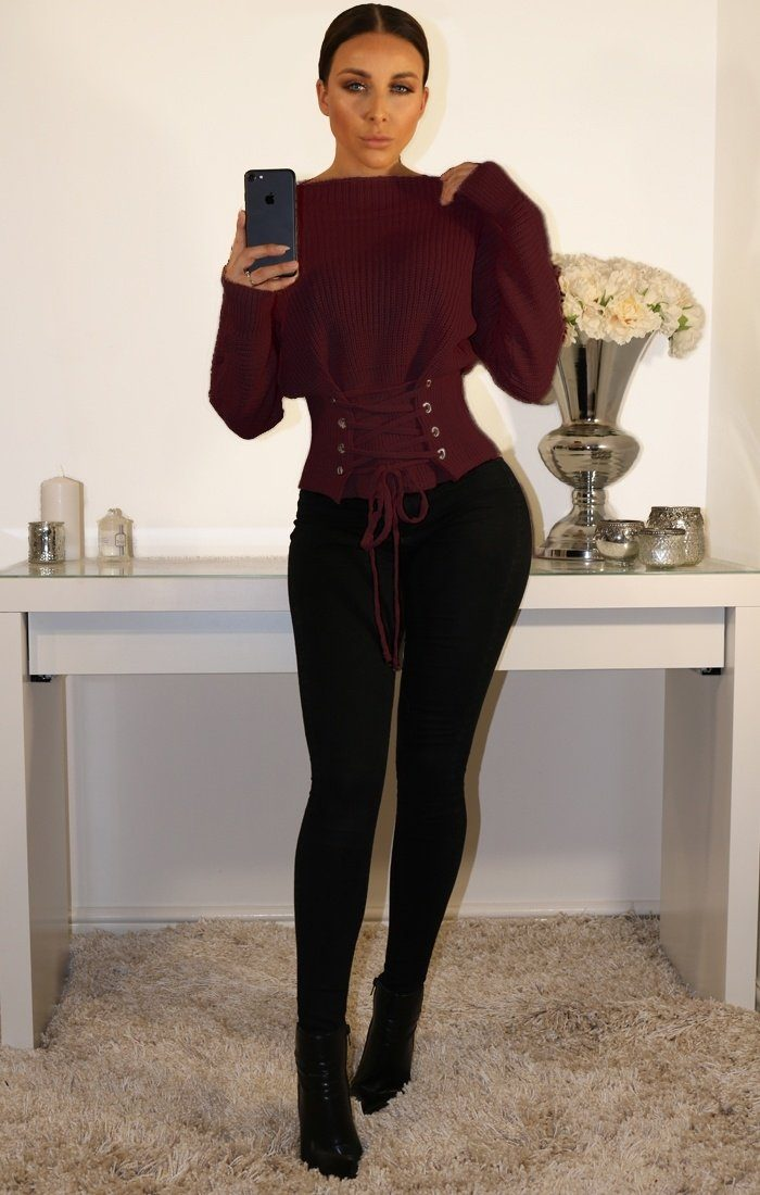 Wine Corset Front Knitted Jumper