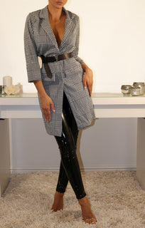 Hounds-tooth Tartan Longline Blazer Dress