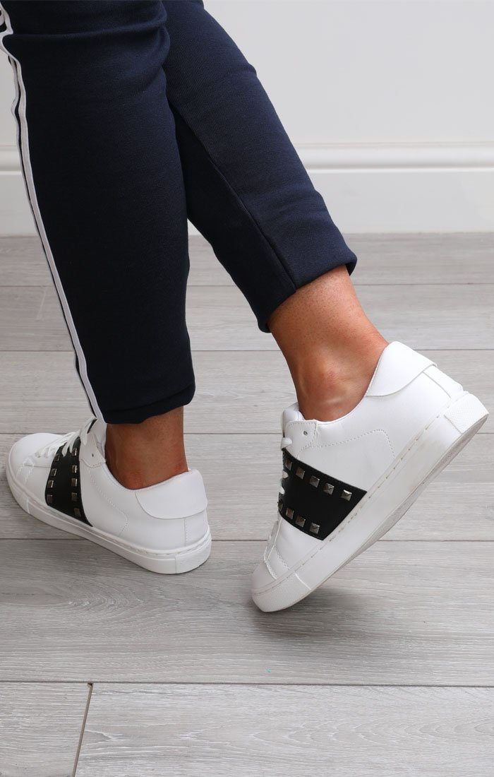 White And Black Studded Trainers - Avery