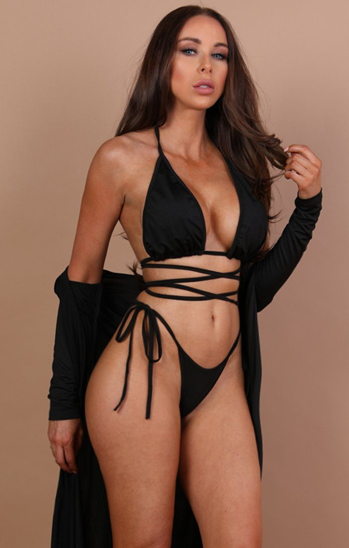 Black Three Piece Swimwear Set- Robyn
