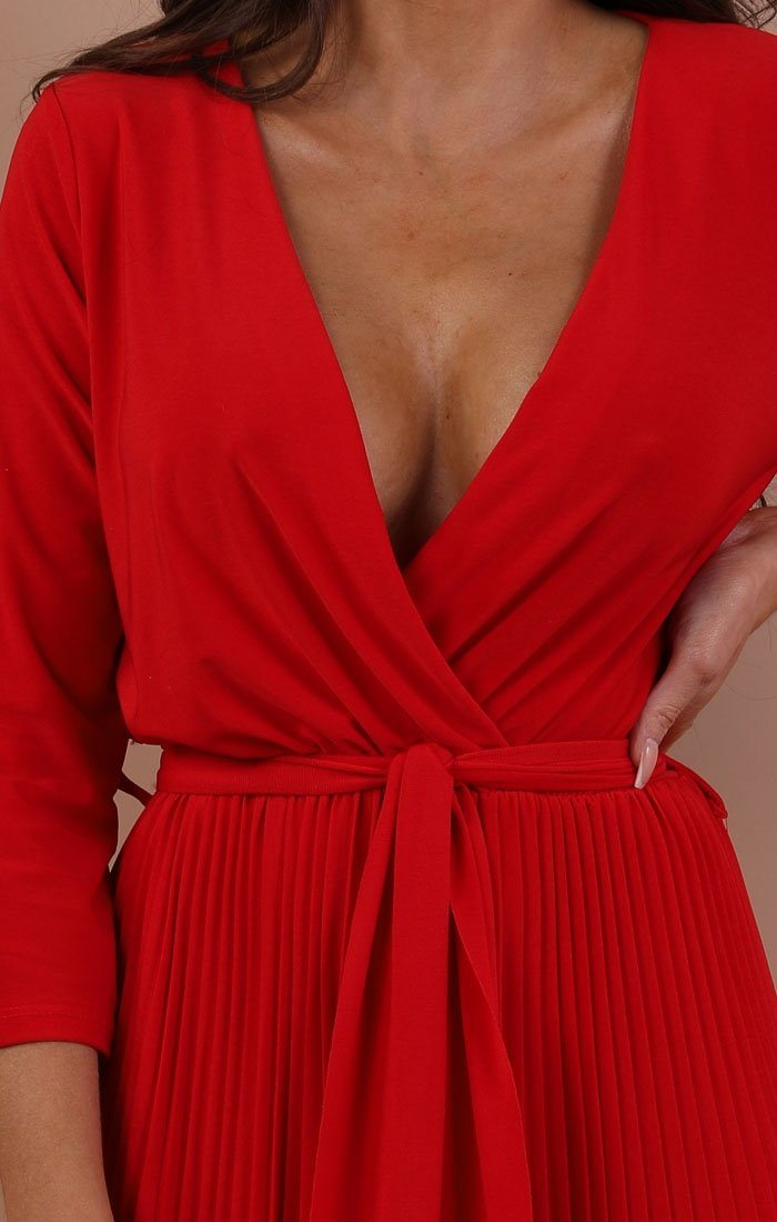Red Pleated Wide Leg Jumpsuit - Abigail