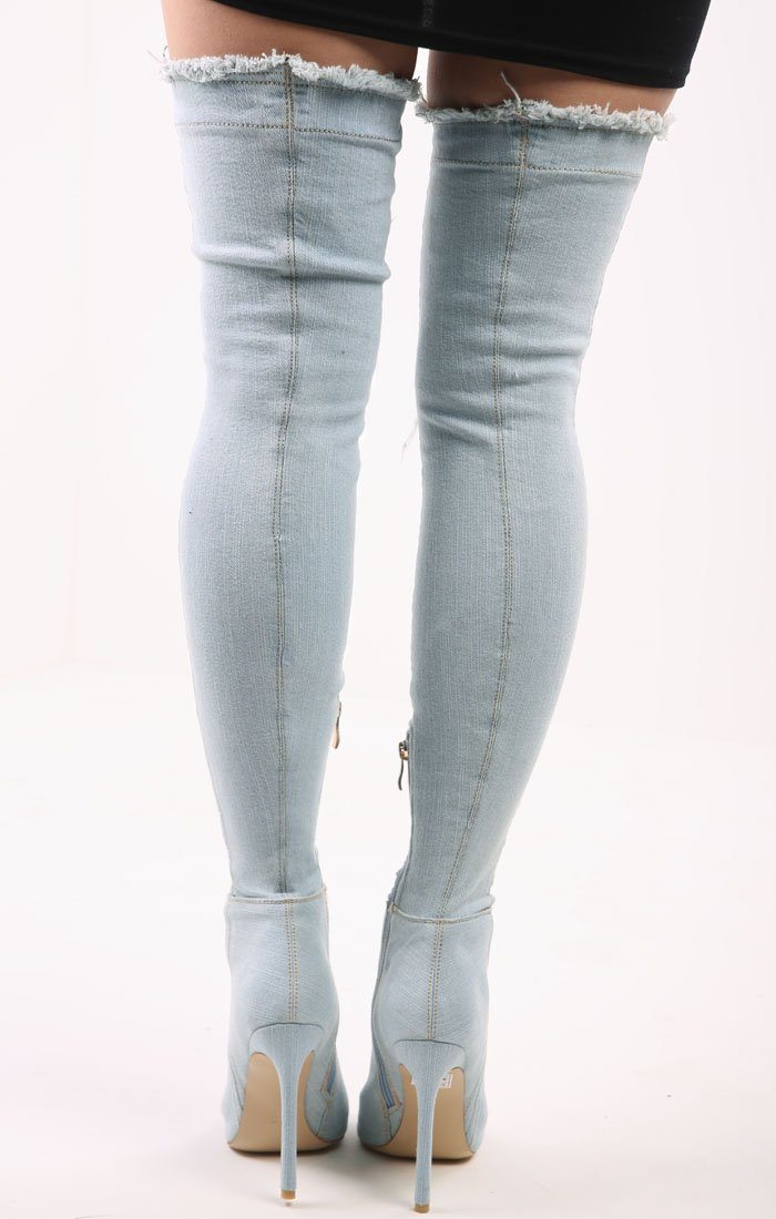 Distressed Denim Over The Knee Boots