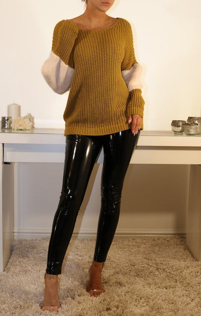 Mustard Oversized Faux Fur Panel Knitted Jumper