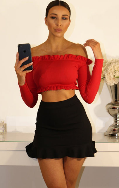 Red Ribbied Frill Detail Bardot Crop Top