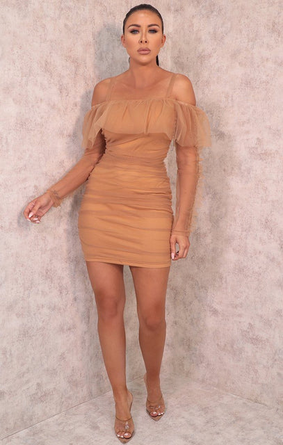 Camel Bardot Ruched Organza Mesh Bodycon Mini Dress - Clara